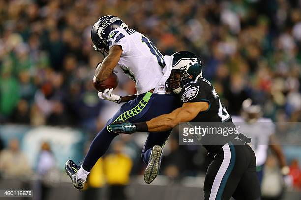 Paul Richardson of the Seattle Seahawks makes a catch against Nate Allen of the Philadelphia Eagles in the second quarter of the game at Lincoln...