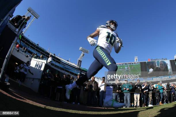 Paul Richardson of the Seattle Seahawks takes the field prior to the start of their game against the Jacksonville Jaguars at EverBank Field on...