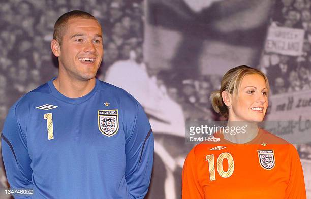 Paul Robinson and Kelly Smith during Official Launch of the New England Away Kit at SAS Radisson Hotel in Manchester Great Britain