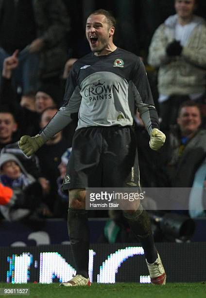 Paul Robinson of Blackburn Rovers celebrates after saving a penalty from Gael Kakuta of Chelsea to secure victory for his team in a penalty shootout...