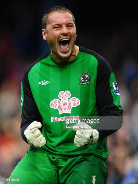Paul Robinson of Blackburn Rovers celebrates victory on the fianl whistle during the Barclays Premier League match between Blackburn Rovers and...