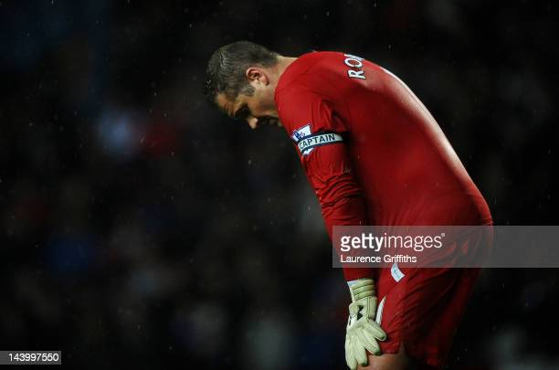 Paul Robinson of Blackburn Rovers looks dejected at the end of the Barclays Premier League match between Blackburn Rovers and Wigan Athletic at Ewood...
