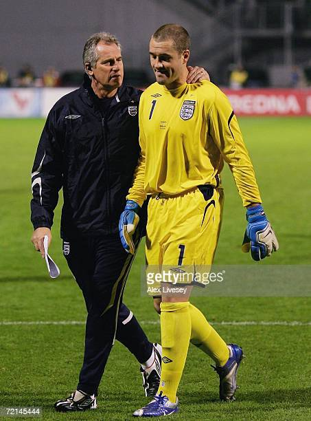 Paul Robinson of England is consoled by Ray Clemence the goalkeeping coach after the Euro2008 Qualifier match between Croatia and England at the...