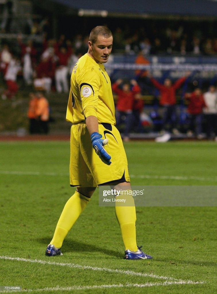 Paul Robinson of England looks in despair at a divot in the pitch after miss kicking a back pass to let the ball roll in for the second goal during the Euro2008 Qualifier match between Croatia and England at the Maksimir Stadium on October 11, 2006 in Zagreb, Croatia.