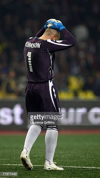 Paul Robinson of England shows his disappointment after conceding a goal during the Euro 2008 qualifying match between Russia and England at The...