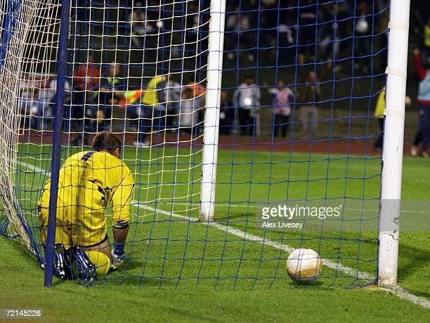Paul Robinson of England sits in the back of the net dejected after conceding the first goal during the Euro2008 Qualifier match between Croatia and...
