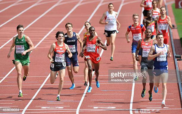 Paul Robinson of Ireland Timo Benitz of Germany Ilham Tanui Ozbilen of Turkey and Chris O'Hare from Britain compete in the the Men's 1500m Heats...
