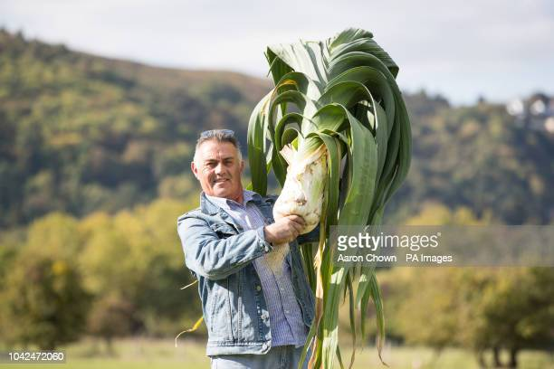 Paul Rochester from Count Durham with his world record giant leek weighing 10.7kg beating his old world record by 0.1kg at the CANNA UK National...