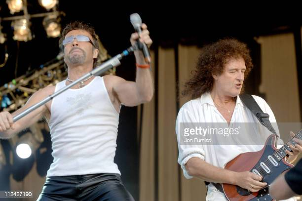 Paul Rodgers and Brian May during Razorlight and Queen in Concert at Hyde Park in London July 15 2005 at Hyde Park in London Great Britain