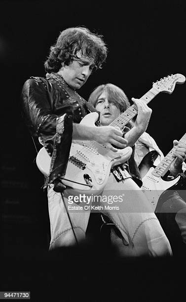Paul Rodgers and Mick Ralphs perform live with Bad Company at Earls Court in London 1978