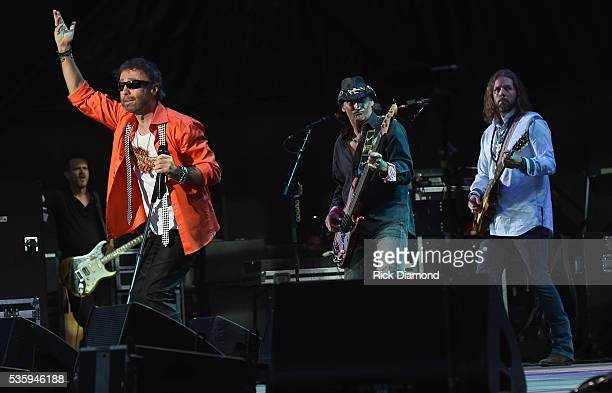 Paul Rogers and Rich Robinson of Bad Company perform during Joe Walsh Bad Company One Hell Of A Night Tour at Perfect Vodka Amphitheatre on May 29...