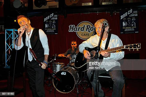 Paul Rodgers Mick Ralphs and Simon Kirke of Bad Company perform during a photocall to announce the band's new tour at Hard Rock Cafe Old Park Lane on...