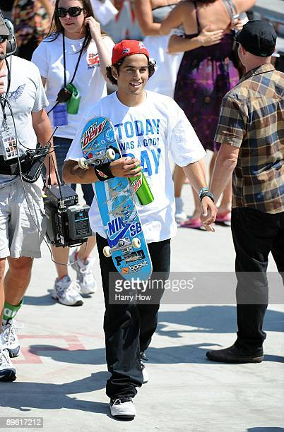 Paul Rodriguez celebrates his first place finish in the Skateboard Street Men during X Games 15 at the Home Depot Center on August 1 2009 in Carson...