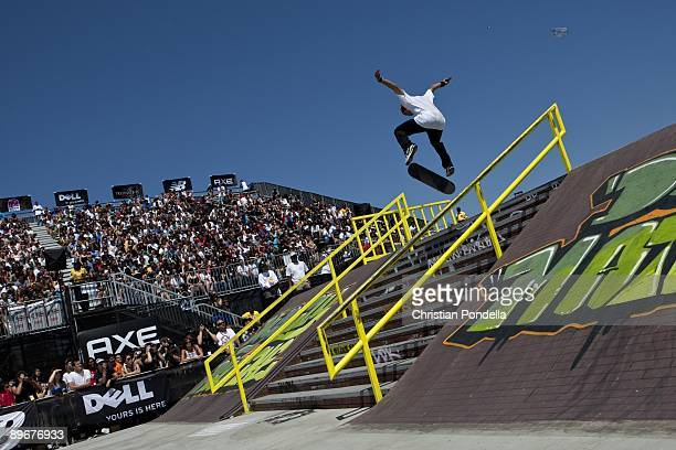 Paul Rodriguez competes in Men's Skateboard Street finals at Summer X Games 15 at Home Depot Center on August 1 2009 in Carson California