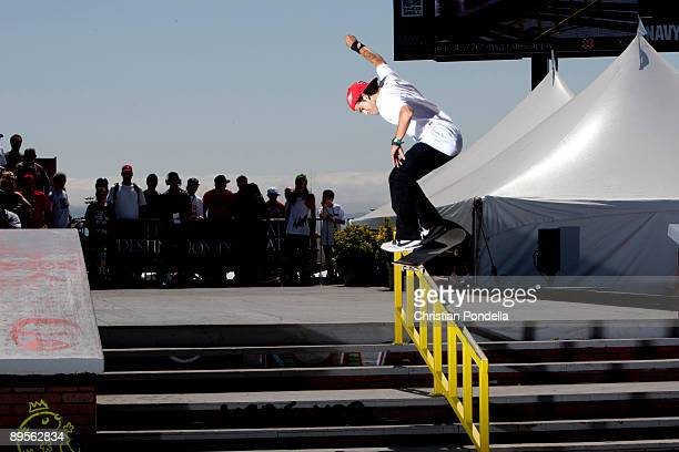 Paul Rodriguez competes in the Men's Skateboard Street finals at Summer X Games 15 at Home Depot Center on August 1 2009 in Carson California