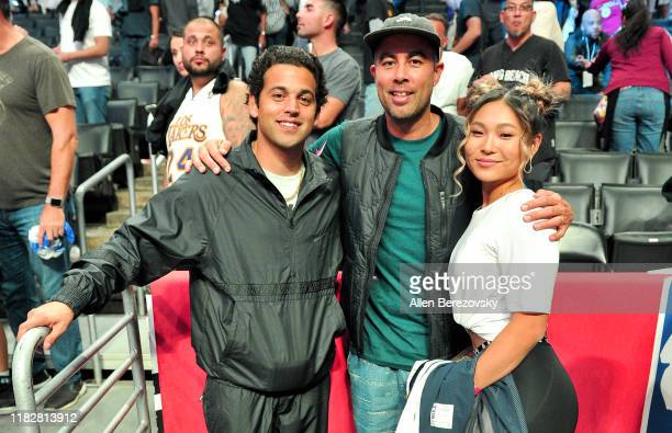 Paul Rodriguez Eric Koston and Chloe Kim attend a basketball game between the Los Angeles Clippers and the Los Angeles Lakers at Staples Center on...