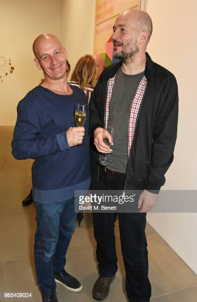 Paul Rowe and Jake Chapman attend the Private View of 'Centrifugal Soul' by Mat Collishaw at Blain Southern on April 6 2017 in London England