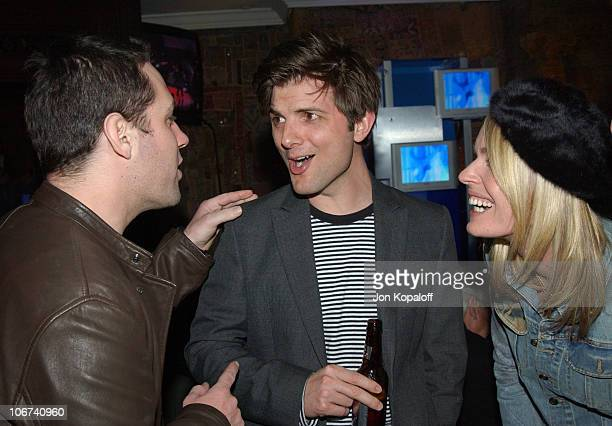 Paul Rudd Adam Scott and Rebecca RomijnStamos enjoy a performance by Elvis Costello and The Imposters at the House of Blues for a sold out Grammy...