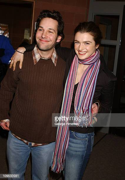 Paul Rudd and actress/producer Rachel Weisz during 2003 Sundance Film Festival 'The Shape of Things' Premiere at Eccles Center in Parkk City Utah...