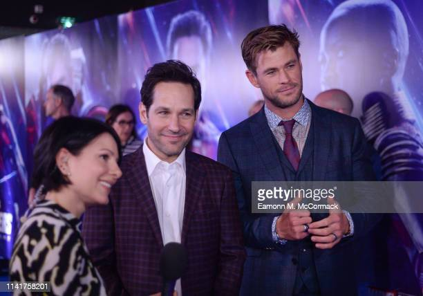 Paul Rudd and Chris Hemsworth attend the UK Fan Event to celebrate the release of Marvel Studios' Avengers Endgame at Picturehouse Central on April...