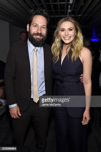 Paul Rudd and Elizabeth Olsen attend the after party for the screening of Marvel's 'Captain America Civil War' hosted by The Cinema Society with Audi...