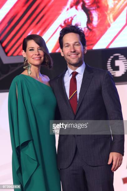 Paul Rudd and Evangeline Lilly on the red carpet of their new film Antman and the Wasp on 13th June 2018 in Taipei Taiwan China