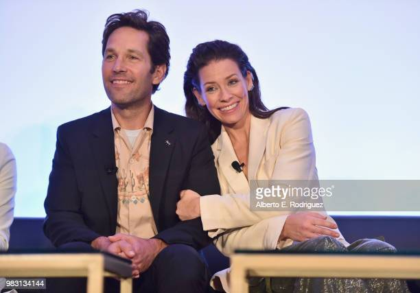 Paul Rudd and Evangeline Lilly speak onstage at Marvel Studios' AntMan And The Wasp Global Junket Press Conference on June 24 2018 in Los Angeles...