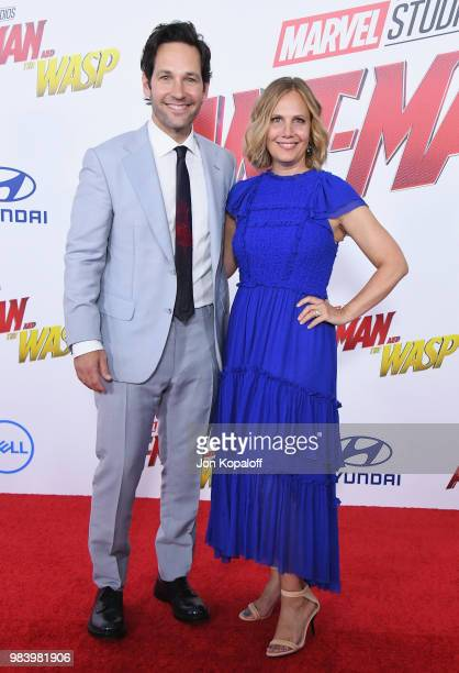 Paul Rudd and Julie Rudd attend the premiere of Disney And Marvel's 'AntMan And The Wasp' at the El Capitan Theater on June 25 2018 in Hollywood...