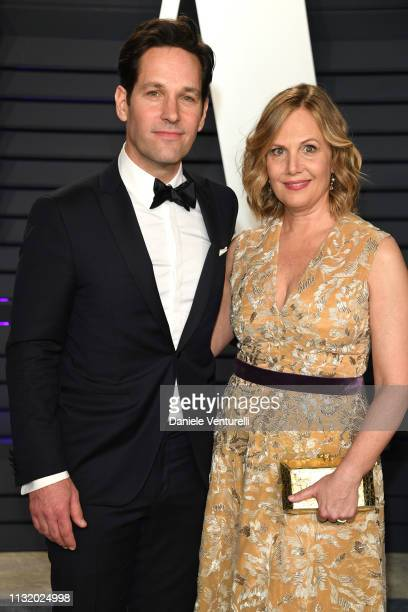 Paul Rudd and Julie Yaeger attend 2019 Vanity Fair Oscar Party Hosted By Radhika Jones at Wallis Annenberg Center for the Performing Arts on February...