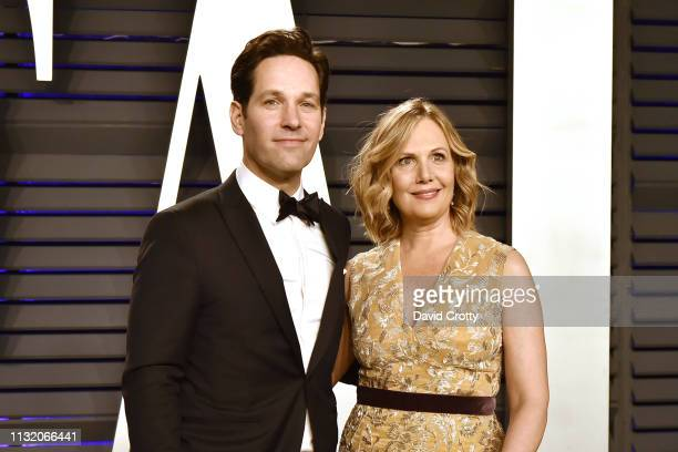 Paul Rudd and Julie Yaeger attend the 2019 Vanity Fair Oscar Party at Wallis Annenberg Center for the Performing Arts on February 24 2019 in Beverly...