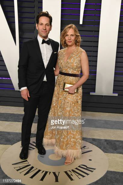 Paul Rudd and Julie Yaeger attend the 2019 Vanity Fair Oscar Party hosted by Radhika Jones at Wallis Annenberg Center for the Performing Arts on...