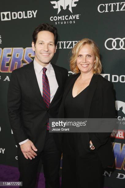 Paul Rudd and Julie Yaeger attend the Los Angeles World Premiere of Marvel Studios' Avengers Endgame at the Los Angeles Convention Center on April 23...
