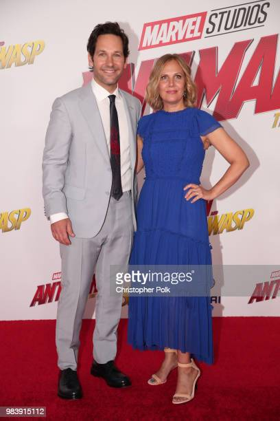 Paul Rudd and Julie Yaeger attend the premiere of Disney And Marvel's AntMan And The Wasp on June 25 2018 in Los Angeles California