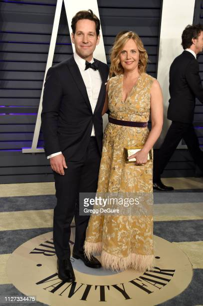 Paul Rudd and Julie Yaeger attends the 2019 Vanity Fair Oscar Party hosted by Radhika Jones at Wallis Annenberg Center for the Performing Arts on...