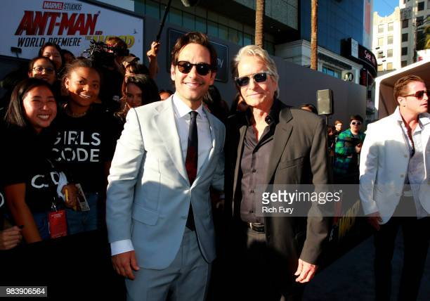 Paul Rudd and Michael Douglas attend the premiere of Disney And Marvel's AntMan And The Wasp on June 25 2018 in Los Angeles California