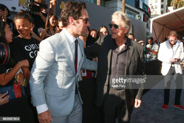 Paul Rudd and Michael Douglas attend the premiere of Disney And Marvel's 'AntMan And The Wasp' on June 25 2018 in Hollywood California