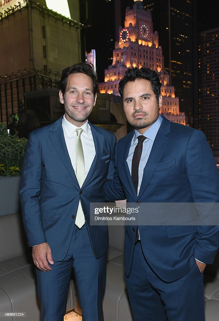 Paul Rudd and Michael Pena attend the after party for Marvel's screening of 'Ant-Man' hosted by The Cinema Society and Audi at St. Cloud at the Knickerbocker Hotel on July 13, 2015 in New York City.