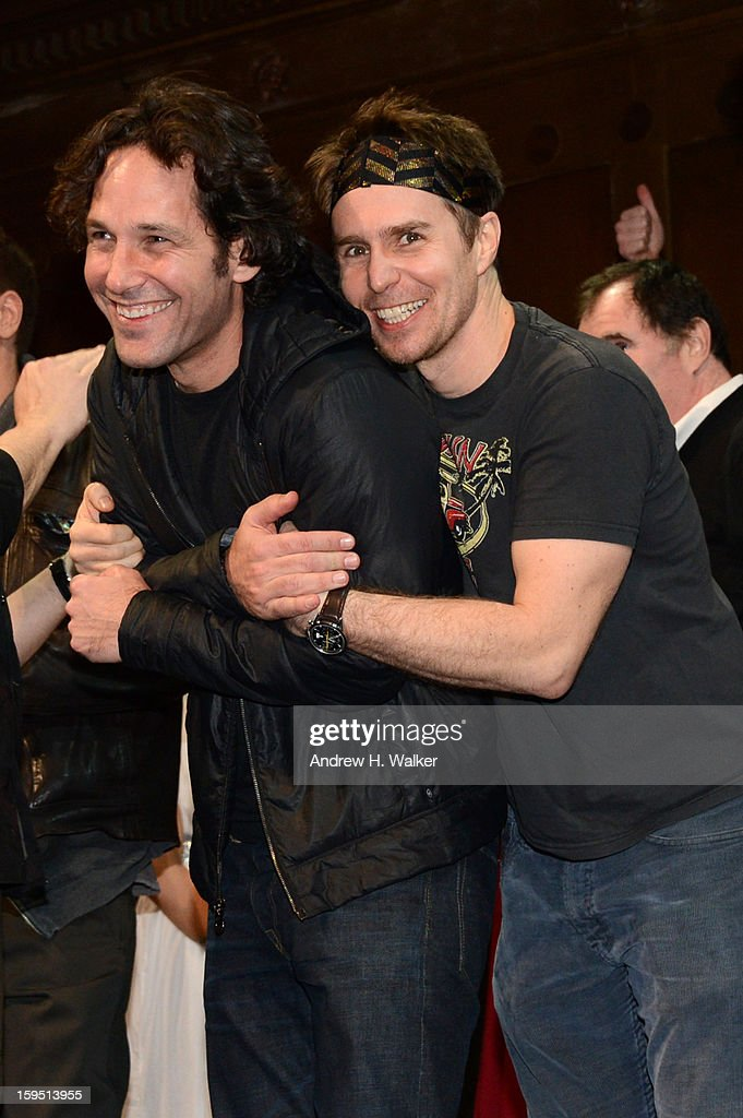 Paul Rudd and Sam Rockwell onstage at LAByrinth Theater Company Celebrity Charades 2013 Benefit Gala at Capitale on January 14, 2013 in New York City.