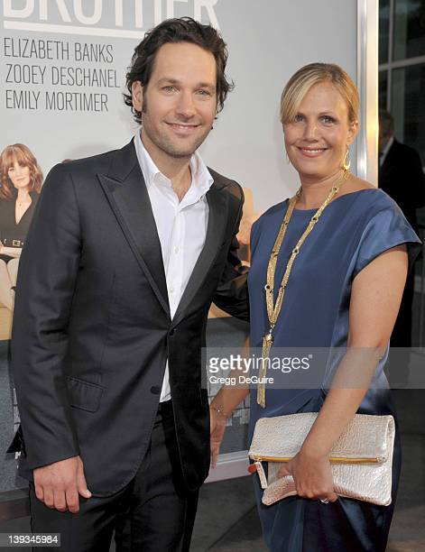 Paul Rudd and wife Julie Yaeger arrive at the Los Angeles Premiere of Our Idiot Brother at Arclight Hollywood Theatre on August 16 2011 in Hollywood...
