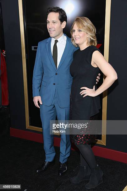 """Paul Rudd and wife Julie Yaeger attend the """"Anchorman 2: The Legend Continues"""" U.S. Premiere at Beacon Theatre on December 15, 2013 in New York City."""