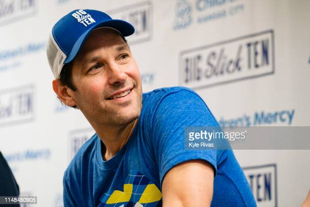 Paul Rudd answers questions during a press conference at Children's Mercy Hospital during the Big Slick Celebrity Weekend benefiting Children's Mercy...