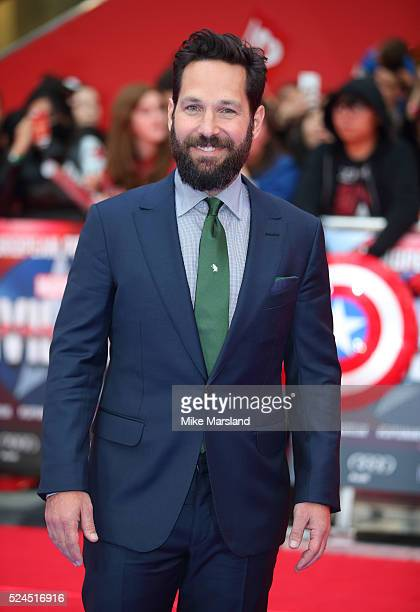 Paul Rudd arrives for European Premiere 'Captain America Civil War' at Vue Westfield on April 26 2016 in London England
