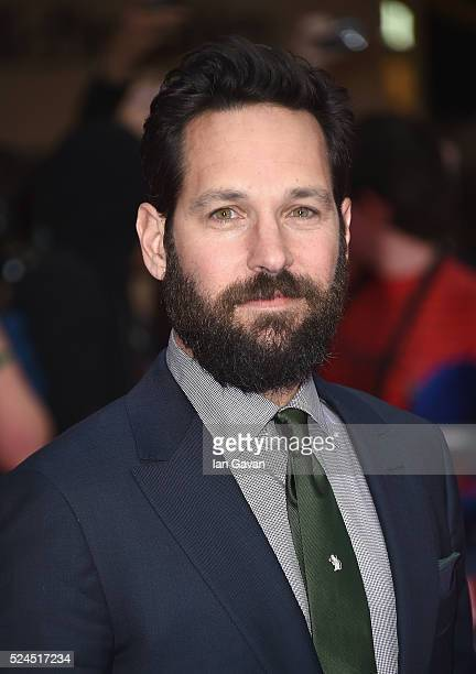 Paul Rudd arrives for UK film premiere 'Captain America Civil War' at Vue Westfield on April 26 2016 in London England
