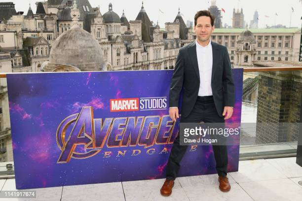 Paul Rudd attends the Avengers Endgame photocall at Corinthia Hotel London on April 11 2019 in London England