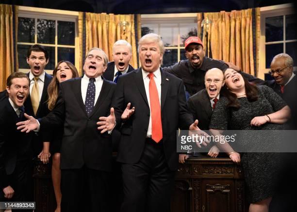 LIVE Paul Rudd Episode 1767 Pictured Alex Moffat as Eric Trump Mikey Day as Donald Trump Jr Cecily Strong as Melania Trump Robert De Niro as Robert...