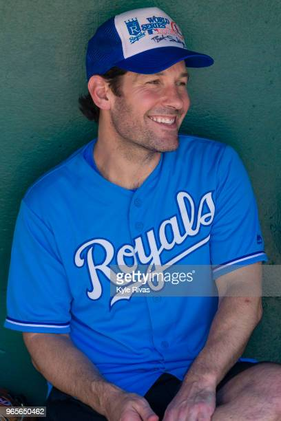 Paul Rudd gives an interview before playing softball at Kauffman Stadium during the Big Slick Celebrity Weekend benefitting Children's Mercy Hospital...