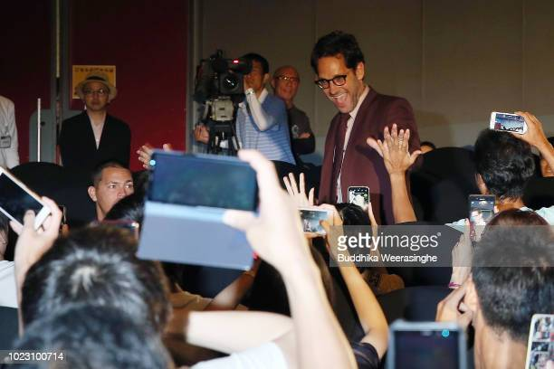 Paul Rudd greets fans upon arriving at the 'AntMan And The Wasp' premiere on August 23 2018 in Osaka Japan