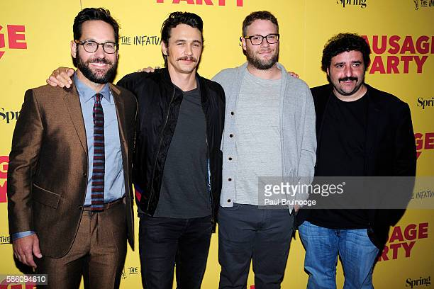 Paul Rudd James Franco Seth Rogen and David Krumholtz attend New York Special Screening of Columbia Pictures' 'Sausage Party' at Sunshine Landmark on...