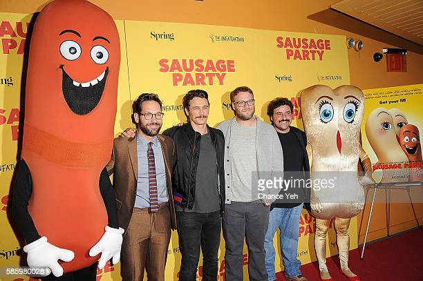 Paul Rudd James Franco Seth Rogen and David Krumholtz attend 'Sausage Party' New York premiere at Sunshine Landmark on August 4 2016 in New York City