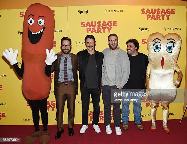 Paul Rudd James Franco Seth Rogen and David Krumholtz attend the premiere of Sausage Party at Sunshine Landmark on August 4 2016 in New York City